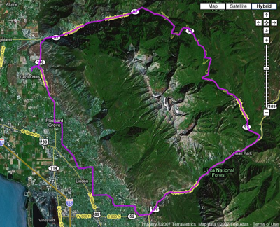 Windleys Google map of Utahs Alpine Loop, around Mt. Timpanogos