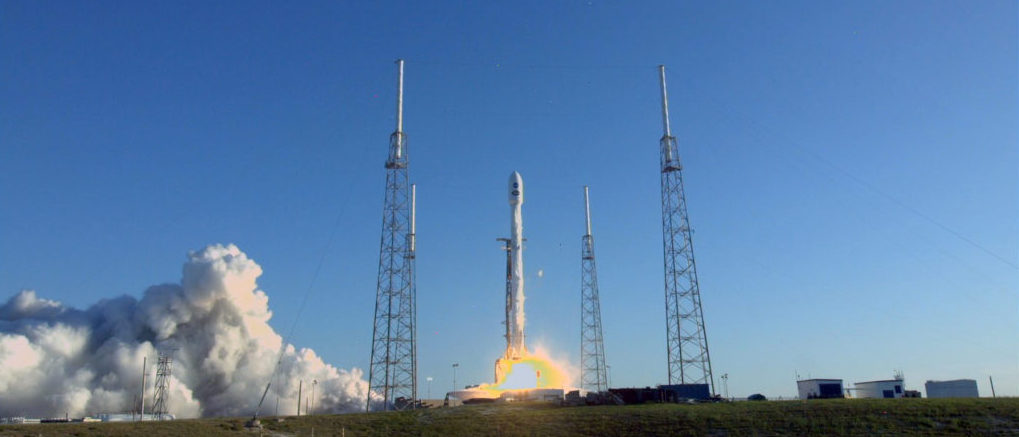 Liftoff of the SpaceX Falcon 9 rocket carrying NASA's TESS spacecraft.